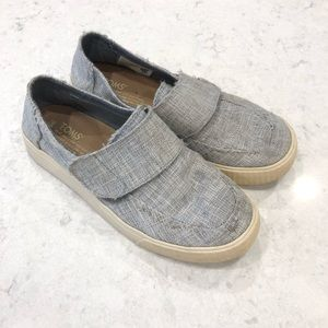 Toms Altair Drizzle Grey Metallic Canvas Shoes—5.5
